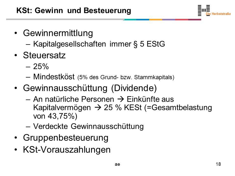 Die Herbststraße ae18 KSt: Gewinn und Besteuerung Gewinnermittlung –Kapitalgesellschaften immer § 5 EStG Steuersatz –25% –Mindestköst (5% des Grund- b