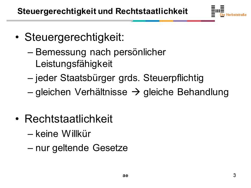 Die Herbststraße ae3 Steuergerechtigkeit und Rechtstaatlichkeit Steuergerechtigkeit: –Bemessung nach persönlicher Leistungsfähigkeit –jeder Staatsbürger grds.