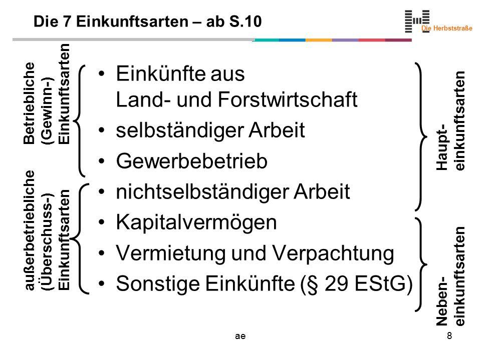 Die Herbststraße ae9 Die sieben Einkunftsarten Land- & Forstwirtschaft 1 selbständige Arbeit 2 Gewerbebetriebe 3 nicht selbständige Arbeit 4 Kapitalvermögen 5 Vermietung und Verpachtung 6 Sonstige Einkünfte 7 Landwirtschaft, Forstwirtschaft, Weinbau, Gartenbau, Obstbau Tier-, Fischzucht, Bienenzucht… land- & forstwirt.