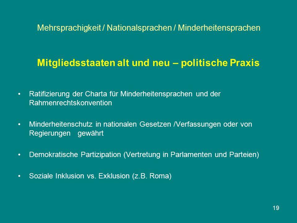 Mehrsprachigkeit / Nationalsprachen / Minderheitensprachen Mitgliedsstaaten alt und neu – politische Praxis Ratifizierung der Charta für Minderheitens
