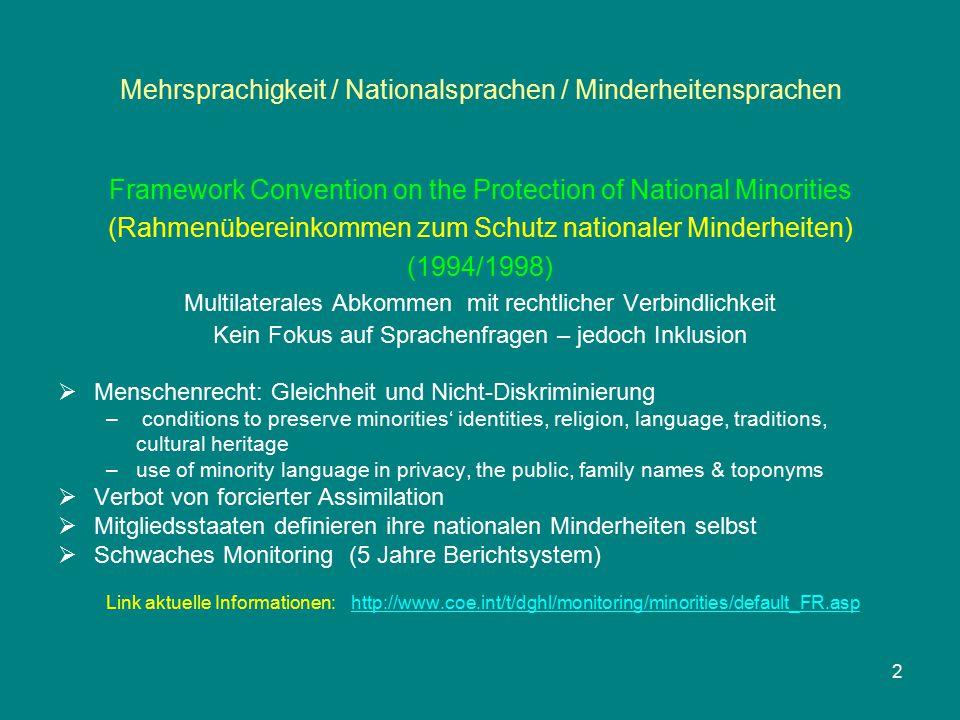 Mehrsprachigkeit / Nationalsprachen / Minderheitensprachen Staat Unterzeichnung Ratifizierung Inkrafttreten BULGARIEN (EU 02)--------------- DÄNEMARK (EU 03)199220002001 DEUTSCHLAND (EU 04)199219981999 ESTLAND (EU 05)--------------- FINNLAND (EU 06)199219941998 FRANKREICH (EU 07)1999---------- 13