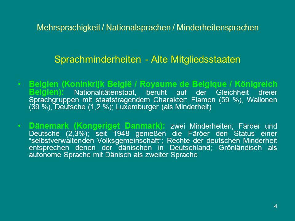 Mehrsprachigkeit / Nationalsprachen / Minderheitensprachen Sprachminderheiten - Alte Mitgliedsstaaten Belgien (Koninkrijk België / Royaume de Belgique / Königreich Belgien): Nationalitätenstaat, beruht auf der Gleichheit dreier Sprachgruppen mit staatstragendem Charakter: Flamen (59 %), Wallonen (39 %), Deutsche (1,2 %); Luxemburger (als Minderheit) Dänemark (Kongeriget Danmark): zwei Minderheiten; Färöer und Deutsche (2,3%); seit 1948 genießen die Färöer den Status einer selbstverwaltenden Volksgemeinschaft ; Rechte der deutschen Minderheit entsprechen denen der dänischen in Deutschland; Grönländisch als autonome Sprache mit Dänisch als zweiter Sprache 4