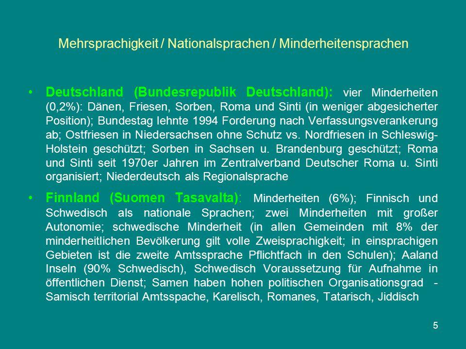 Mehrsprachigkeit / Nationalsprachen / Minderheitensprachen Frankreich (République Française): acht Minderheiten (9-14%); Bretonen, Flamen, Elsässer, Lothringer, Okzitanen, Katalanen, Basken und Korsen - keine öffentliche Anerkennung aus Verfassungsgründen - sondern nur Regionalsprachen; seit 1980er und besonders seit 1999 moderate Regionalisierung (Korsen als Ausnahme) Griechenland (Ellinikí Dimokratía): sieben Minderheiten (2,5%), Türken, Pomaken, Makedonier, Aromunen, Armenier, Albaner und Roma, anerkennt keine ethnisch-sprachlichen Minderheiten – nur eine religiöse (Muslime); auch hier spricht man von Regionalsprachen Großbritannien und Nordirland (United Kingdom of Great Britain and Northern Ireland): Minderheiten (23%); restriktive Minderheitenpolitik bis in die 90er Jahre; Waliser (Kymren), Iren und Schotten mit eigenem Parlament; Cornen keine Zugeständnisse; Manx mit eigenem Parlament und Verwaltung, Minderheitensprachen: Walisisch, Irisch, Schottisch, Schottisch-Gälisch, Manx-Gälisch, Kornisch 6