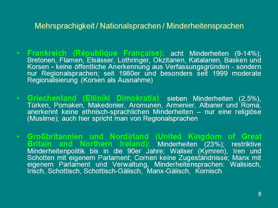 Mehrsprachigkeit / Nationalsprachen / Minderheitensprachen Frankreich (République Française): acht Minderheiten (9-14%); Bretonen, Flamen, Elsässer, L