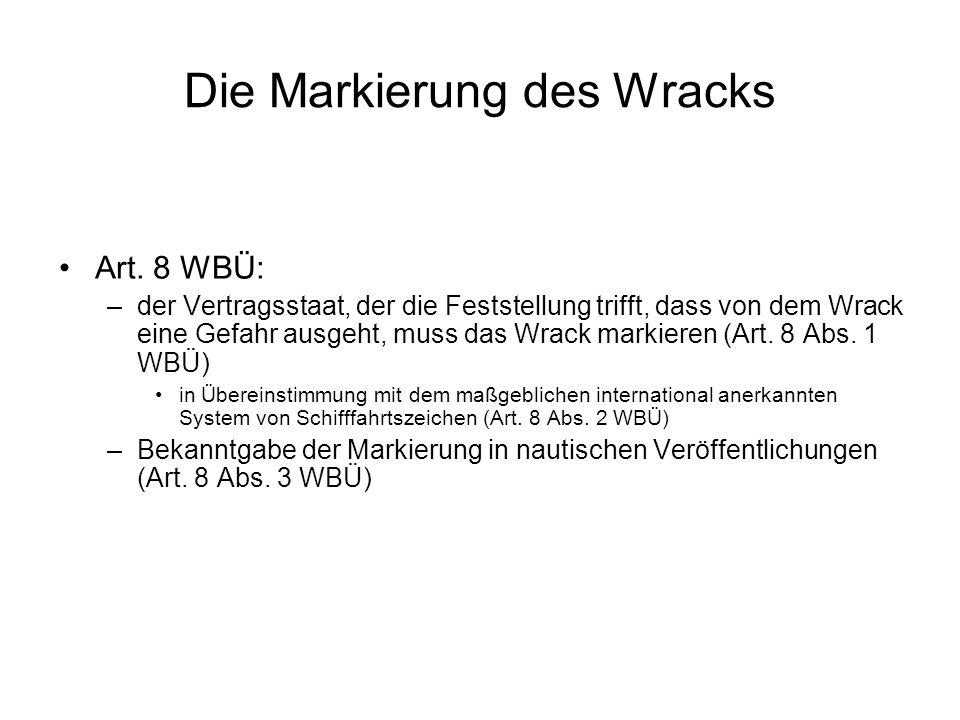Die Markierung des Wracks Art.