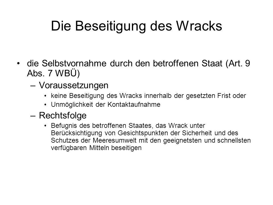 Die Beseitigung des Wracks die Selbstvornahme durch den betroffenen Staat (Art.