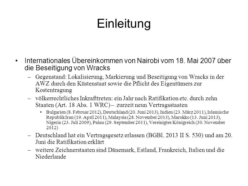 Einleitung Internationales Übereinkommen von Nairobi vom 18.