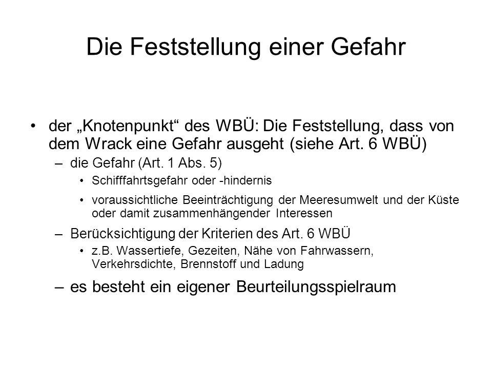 """Die Feststellung einer Gefahr der """"Knotenpunkt des WBÜ: Die Feststellung, dass von dem Wrack eine Gefahr ausgeht (siehe Art."""