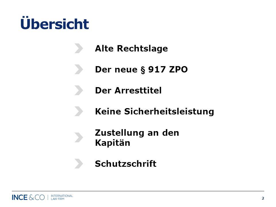 2 Übersicht Alte Rechtslage Der neue § 917 ZPO Der Arresttitel Keine Sicherheitsleistung Zustellung an den Kapitän Schutzschrift