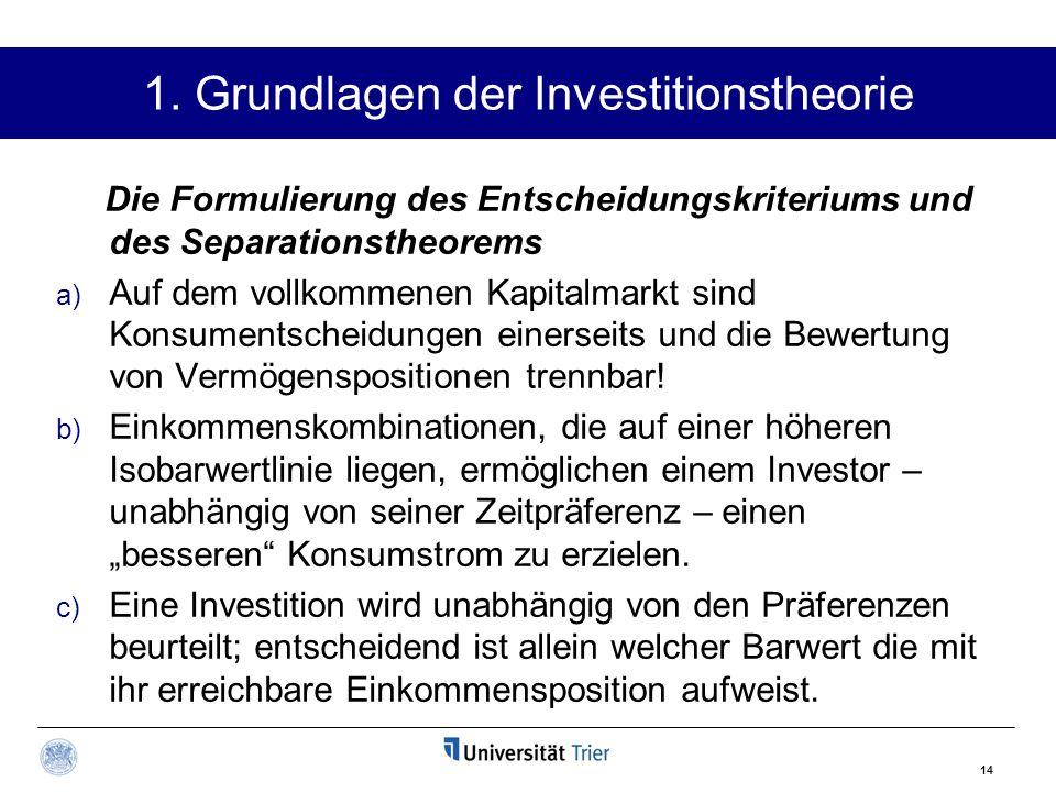 14 1. Grundlagen der Investitionstheorie Die Formulierung des Entscheidungskriteriums und des Separationstheorems a) Auf dem vollkommenen Kapitalmarkt