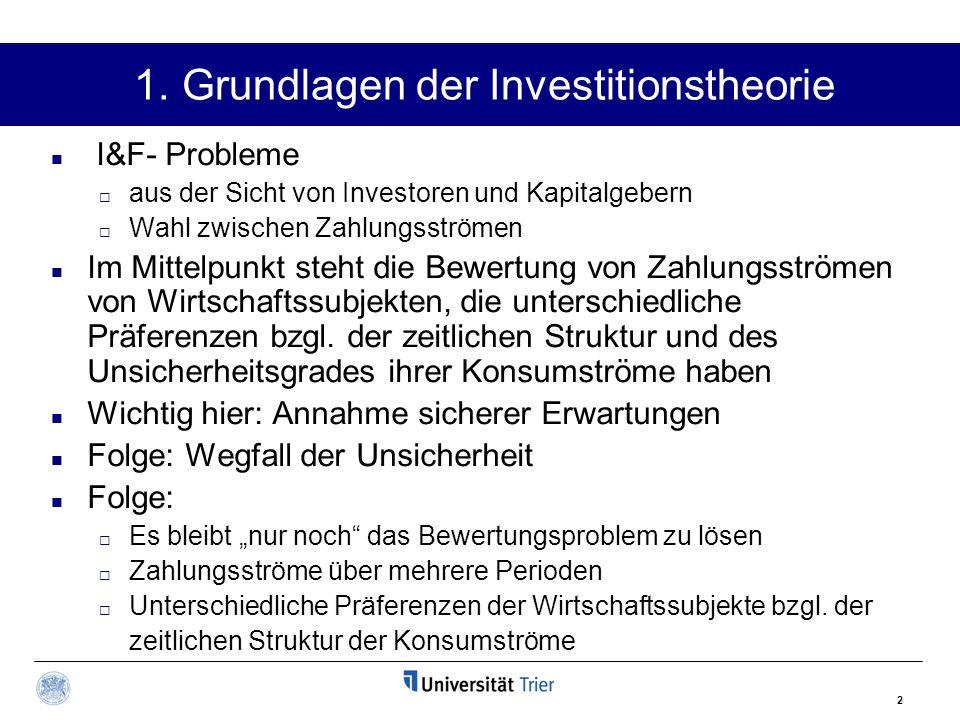 2 1. Grundlagen der Investitionstheorie I&F- Probleme  aus der Sicht von Investoren und Kapitalgebern  Wahl zwischen Zahlungsströmen Im Mittelpunkt