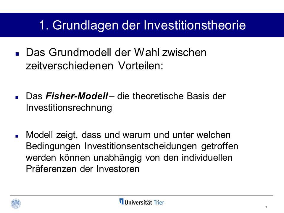 3 1. Grundlagen der Investitionstheorie Das Grundmodell der Wahl zwischen zeitverschiedenen Vorteilen: Das Fisher-Modell – die theoretische Basis der