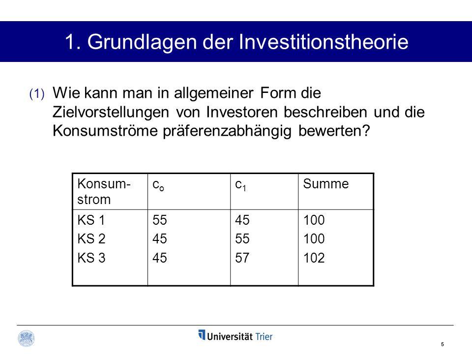 5 1. Grundlagen der Investitionstheorie (1) Wie kann man in allgemeiner Form die Zielvorstellungen von Investoren beschreiben und die Konsumströme prä