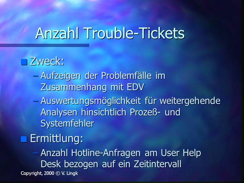 Copyright, 2000 © V. Lingk Anzahl Trouble-Tickets n Zweck: –Aufzeigen der Problemfälle im Zusammenhang mit EDV –Auswertungsmöglichkeit für weitergehen
