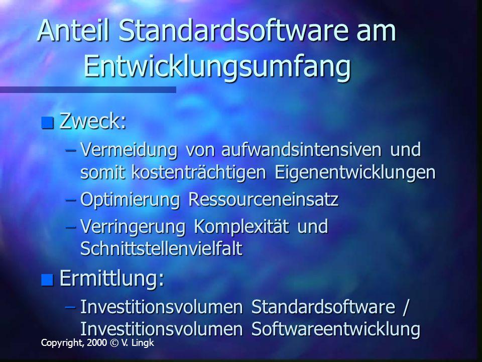 Copyright, 2000 © V. Lingk Anteil Standardsoftware am Entwicklungsumfang n Zweck: –Vermeidung von aufwandsintensiven und somit kostenträchtigen Eigene