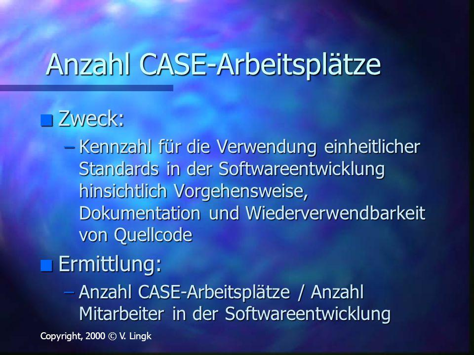 Copyright, 2000 © V. Lingk Anzahl CASE-Arbeitsplätze n Zweck: –Kennzahl für die Verwendung einheitlicher Standards in der Softwareentwicklung hinsicht