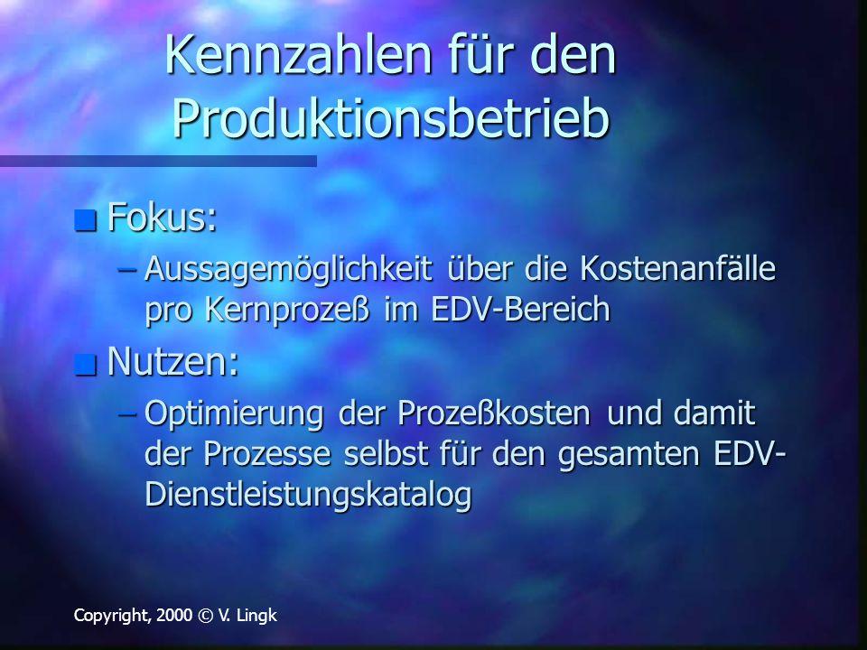 Copyright, 2000 © V. Lingk Kennzahlen für den Produktionsbetrieb n Fokus: –Aussagemöglichkeit über die Kostenanfälle pro Kernprozeß im EDV-Bereich n N