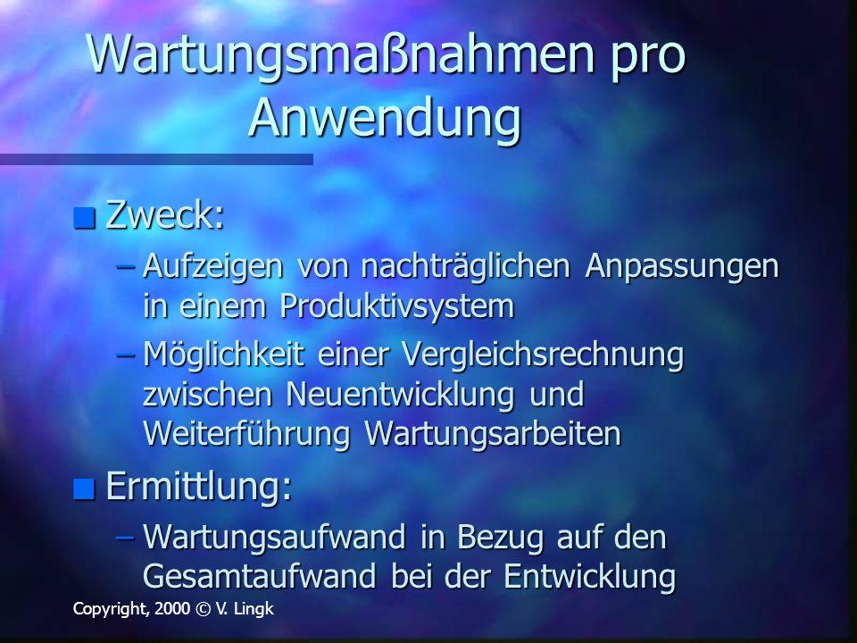 Copyright, 2000 © V. Lingk Wartungsmaßnahmen pro Anwendung n Zweck: –Aufzeigen von nachträglichen Anpassungen in einem Produktivsystem –Möglichkeit ei