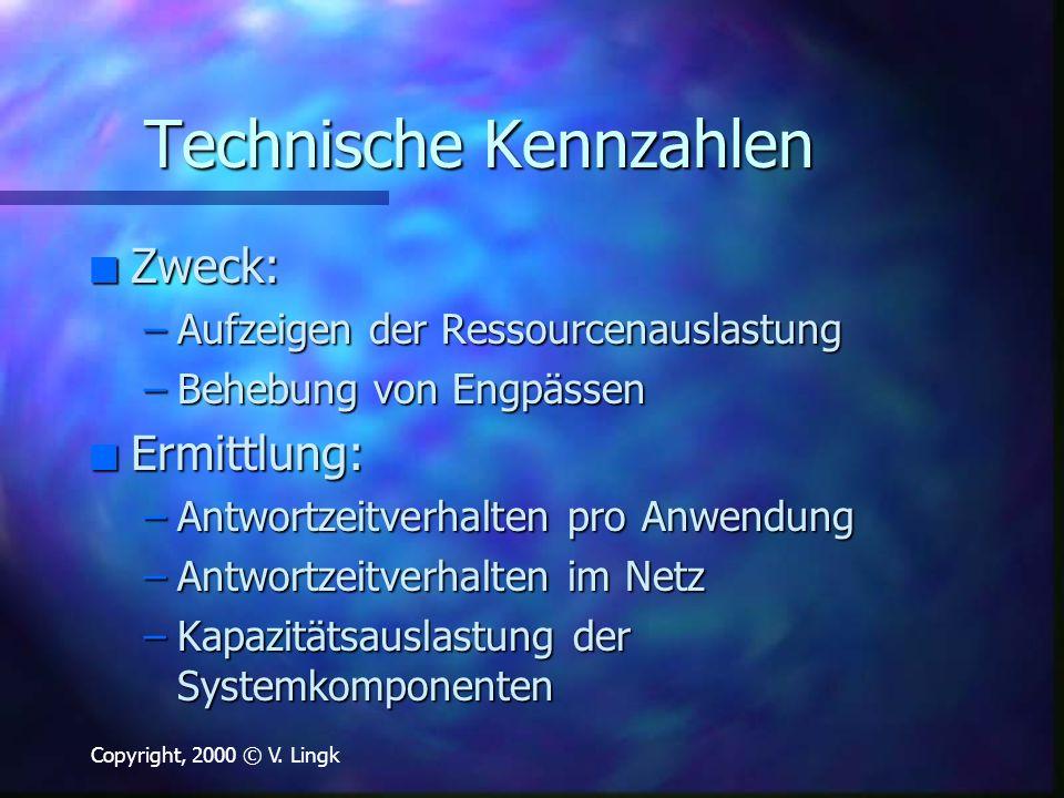 Copyright, 2000 © V. Lingk Technische Kennzahlen n Zweck: –Aufzeigen der Ressourcenauslastung –Behebung von Engpässen n Ermittlung: –Antwortzeitverhal