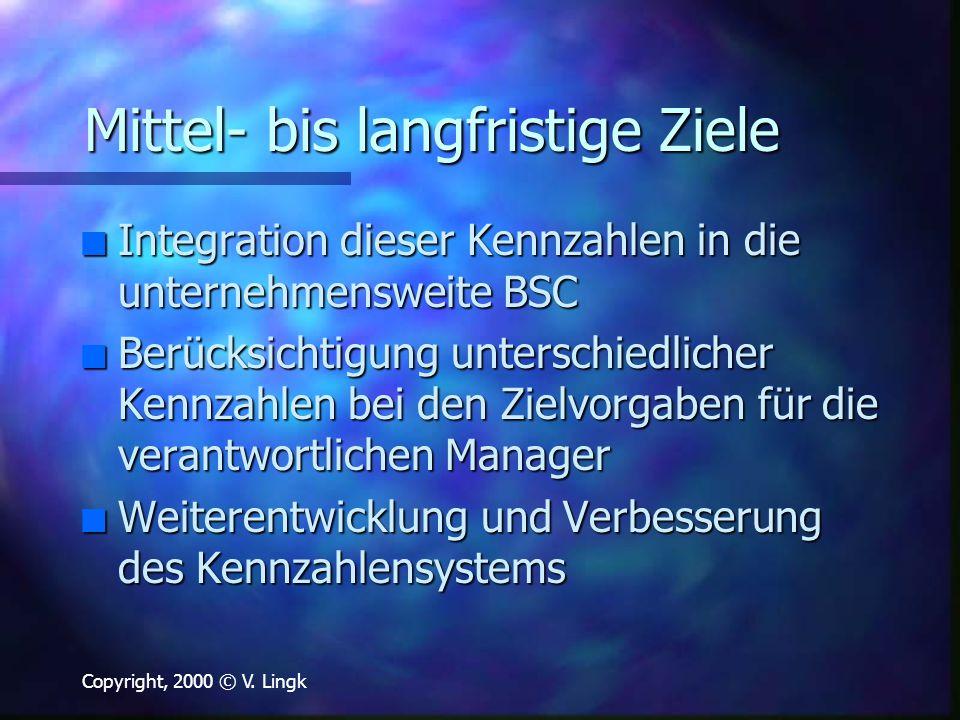 Copyright, 2000 © V. Lingk Mittel- bis langfristige Ziele n Integration dieser Kennzahlen in die unternehmensweite BSC n Berücksichtigung unterschiedl