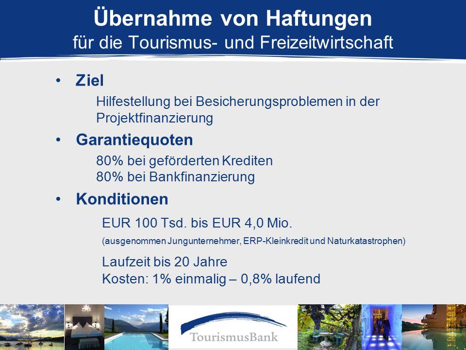 Ziel Hilfestellung bei Besicherungsproblemen in der Projektfinanzierung Garantiequoten 80% bei geförderten Krediten 80% bei Bankfinanzierung Konditionen EUR 100 Tsd.
