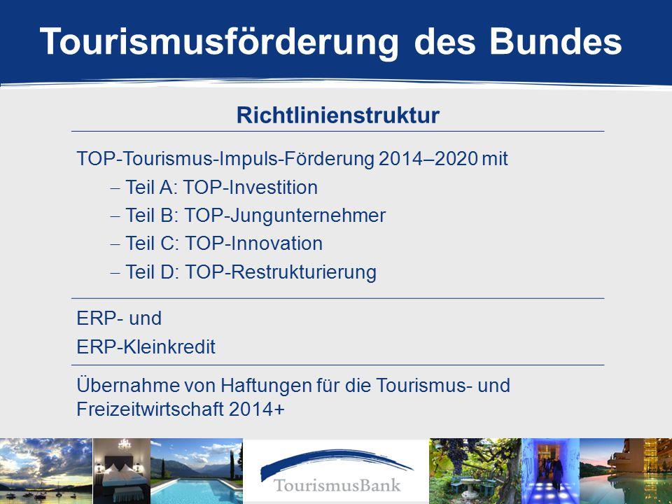 Richtlinienstruktur TOP-Tourismus-Impuls-Förderung 2014–2020 mit  Teil A: TOP-Investition  Teil B: TOP-Jungunternehmer  Teil C: TOP-Innovation  Teil D: TOP-Restrukturierung ERP- und ERP-Kleinkredit Übernahme von Haftungen für die Tourismus- und Freizeitwirtschaft 2014+ Tourismusförderung des Bundes