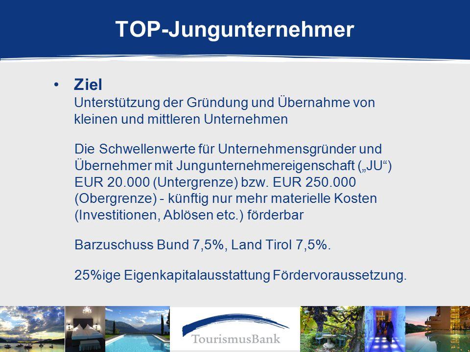 """TOP-Jungunternehmer Ziel Unterstützung der Gründung und Übernahme von kleinen und mittleren Unternehmen Die Schwellenwerte für Unternehmensgründer und Übernehmer mit Jungunternehmereigenschaft (""""JU ) EUR 20.000 (Untergrenze) bzw."""