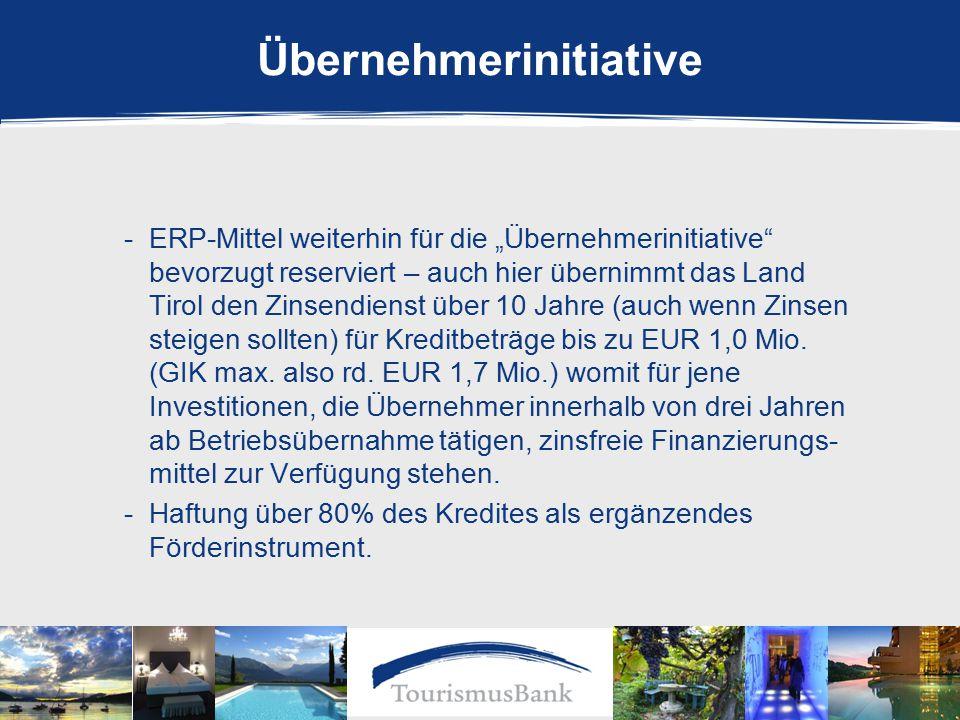 """-ERP-Mittel weiterhin für die """"Übernehmerinitiative bevorzugt reserviert – auch hier übernimmt das Land Tirol den Zinsendienst über 10 Jahre (auch wenn Zinsen steigen sollten) für Kreditbeträge bis zu EUR 1,0 Mio."""