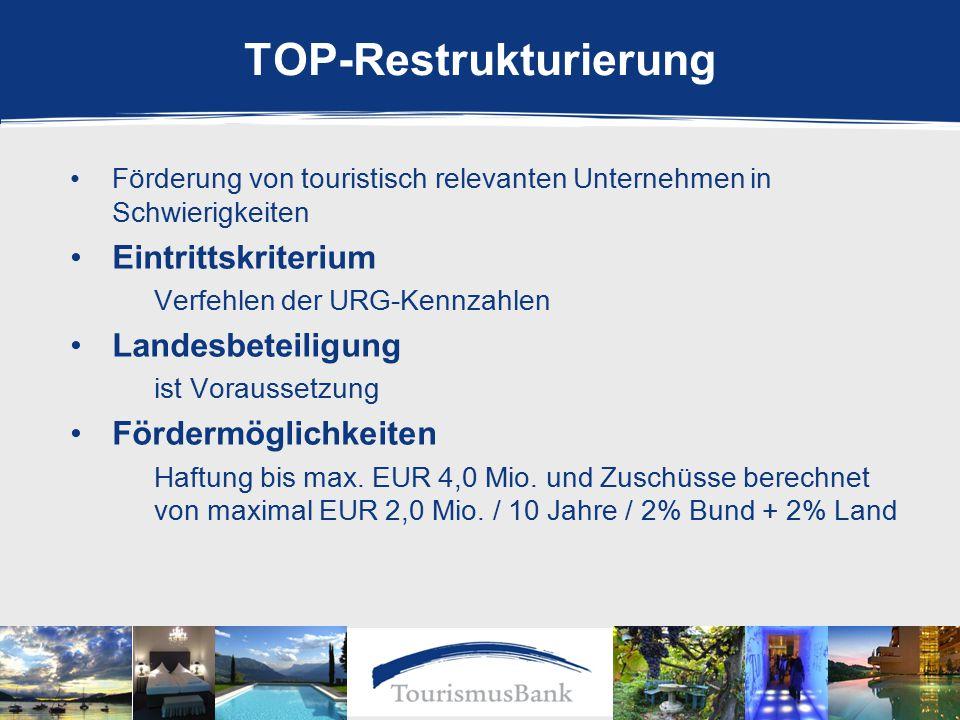 Förderung von touristisch relevanten Unternehmen in Schwierigkeiten Eintrittskriterium Verfehlen der URG-Kennzahlen Landesbeteiligung ist Voraussetzung Fördermöglichkeiten Haftung bis max.