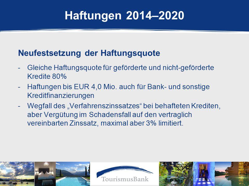 Haftungen 2014–2020 Neufestsetzung der Haftungsquote -Gleiche Haftungsquote für geförderte und nicht-geförderte Kredite 80% -Haftungen bis EUR 4,0 Mio.