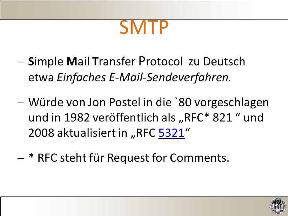 SMTP  Simple Mail Transfer P rotocol zu Deutsch etwa Einfaches E-Mail-Sendeverfahren.
