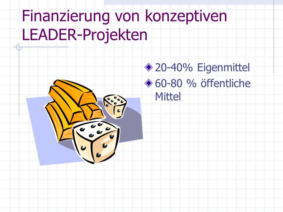 Finanzierung von konzeptiven LEADER-Projekten 20-40% Eigenmittel 60-80 % öffentliche Mittel