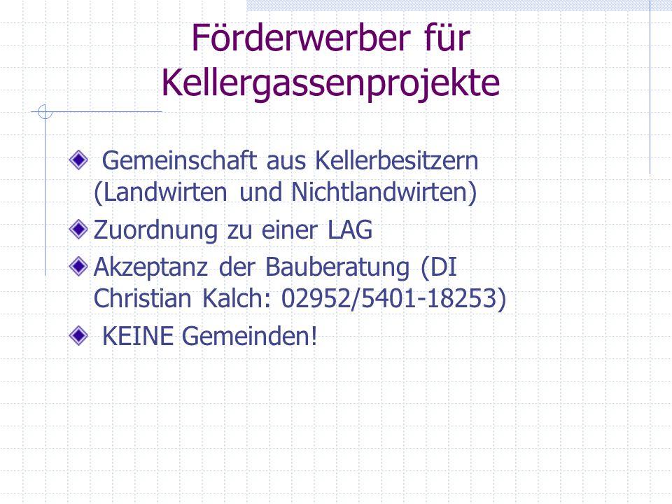 gesucht: Träger für Konzeptprojekt interessierte Kellergassen- gemeinschaften Unterschiedliche Nutzungs- möglichkeiten