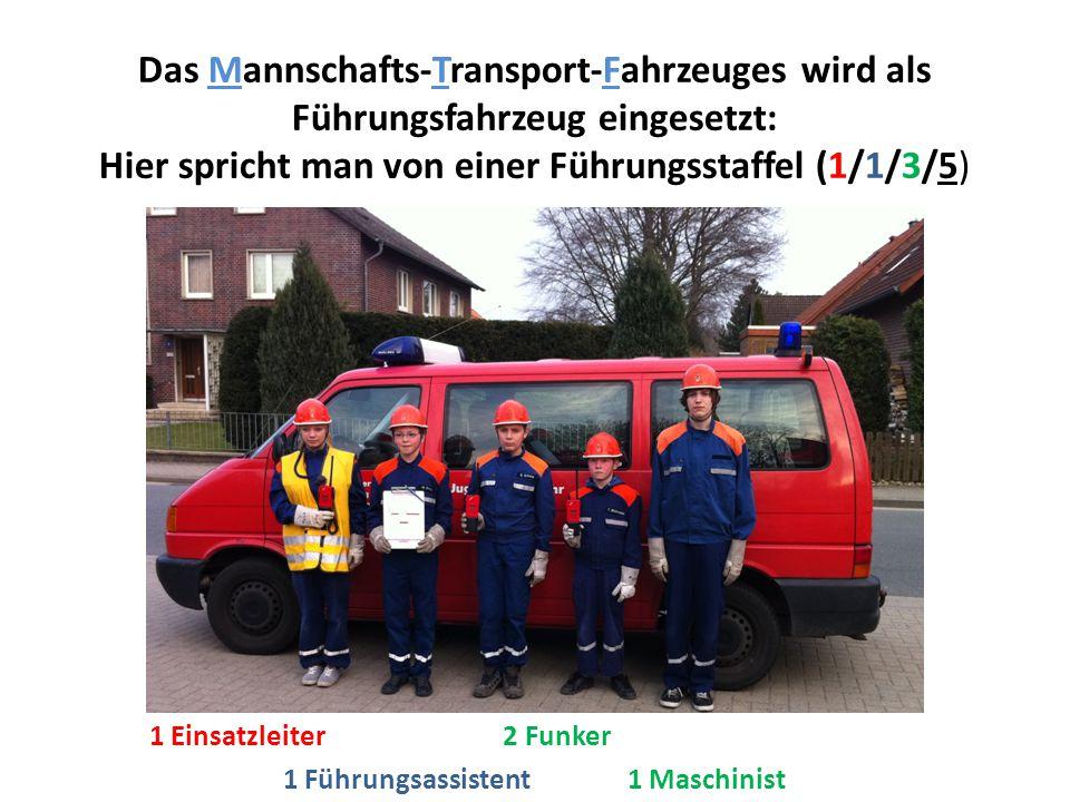 Das Mannschafts-Transport-Fahrzeuges wird als Führungsfahrzeug eingesetzt: Hier spricht man von einer Führungsstaffel (1/1/3/5) 1 Führungsassistent 1 Maschinist 1 Einsatzleiter 2 Funker