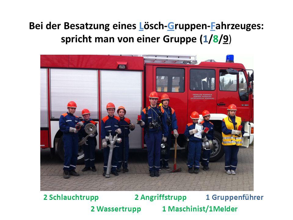 Bei der Besatzung eines Lösch-Gruppen-Fahrzeuges: spricht man von einer Gruppe (1/8/9) 2 Wassertrupp 1 Maschinist/1Melder 2 Schlauchtrupp 2 Angriffstrupp 1 Gruppenführer