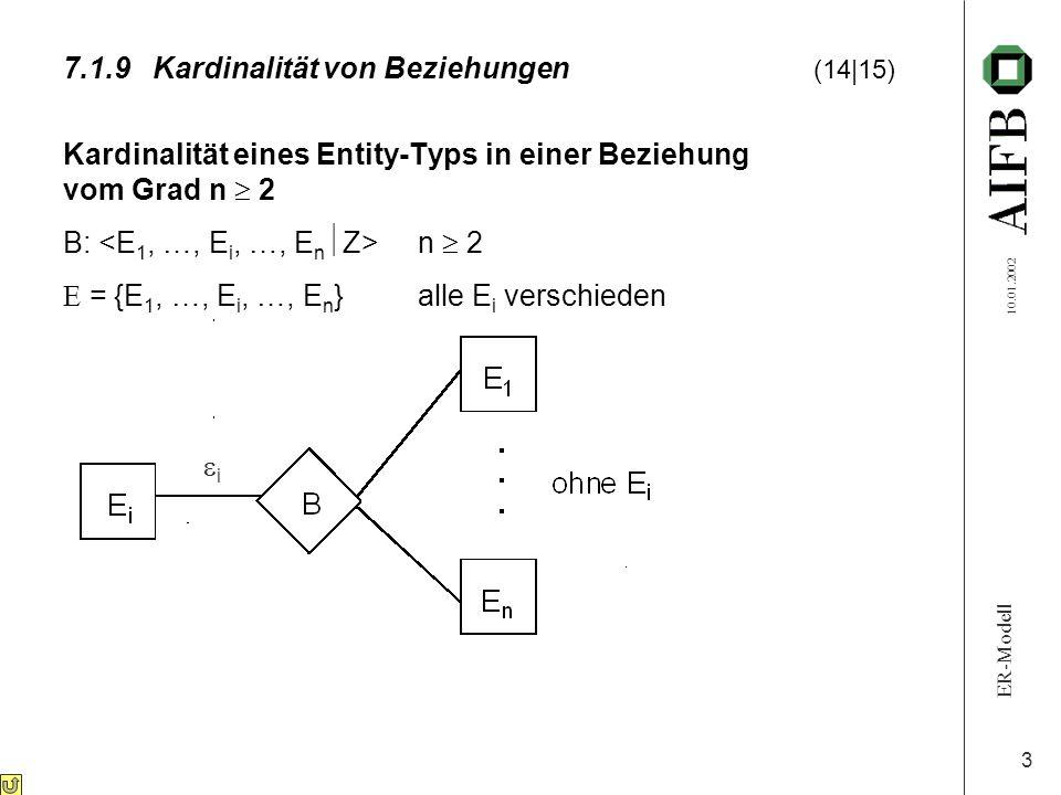 ER-Modell 10.01.2002 4 7.1.9Kardinalität von Beziehungen (15 15) ( : )-Kardinalität: B ist eine (  1 :  2 : … :  i : … :  n )-Beziehung mit  i = 1 oder x(x  {n, m, …})  i = 1 :  t  e j  E j t (j = 1, …, n, j  i)  höchst.