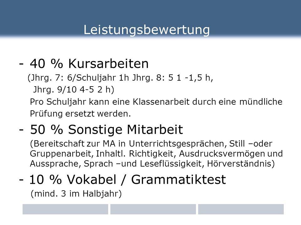 Leistungsbewertung -40 % Kursarbeiten (Jhrg. 7: 6/Schuljahr 1h Jhrg.