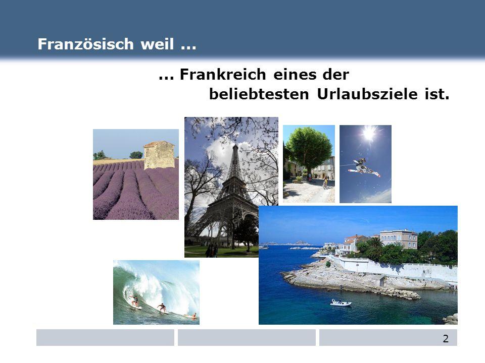 Französisch weil...... Frankreich eines der beliebtesten Urlaubsziele ist. 2