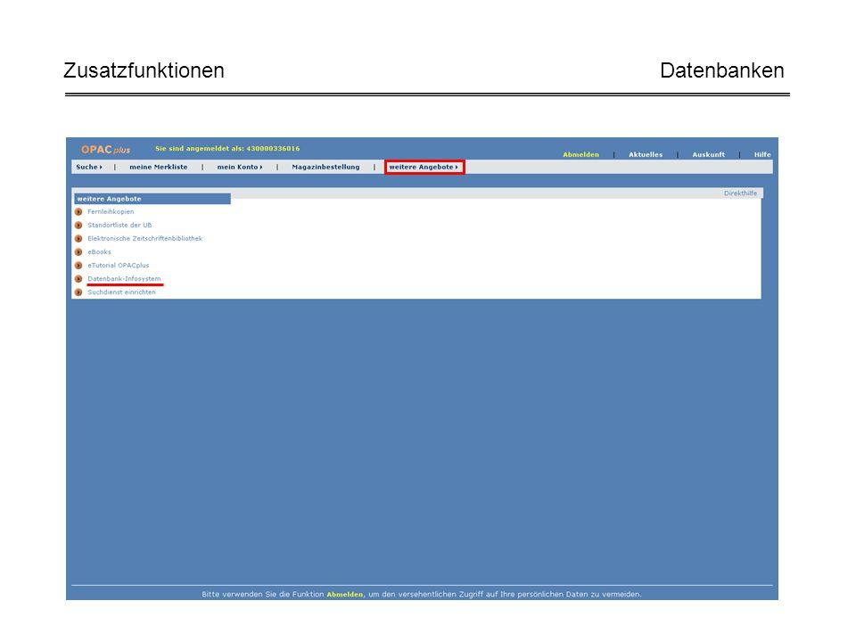 Zusatzfunktionen Datenbanken