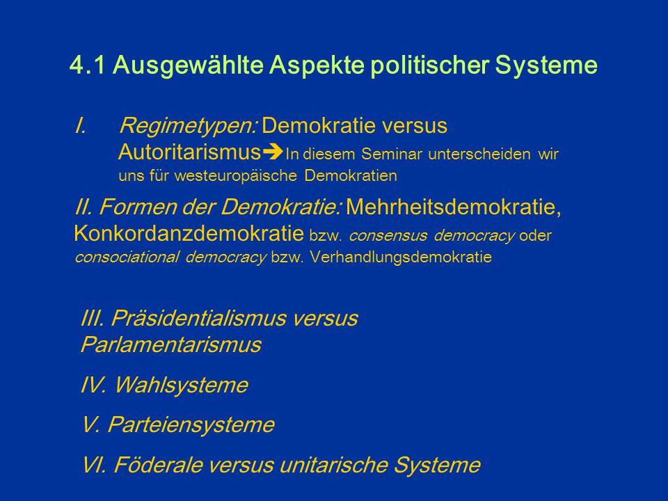 """4. Was vergleichen wir überhaupt? < """"Vergleichende Regierungslehre"""": Institutionenkunde, ergänzt durch neuere Perspektiven der vergleichenden Analyse"""