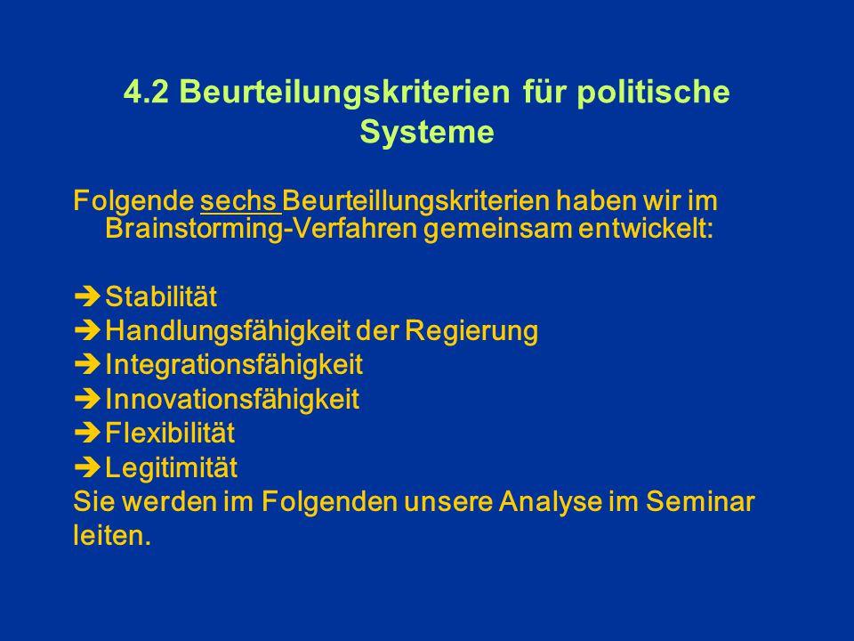 4.1 Ausgewählte Aspekte politischer Systeme II.