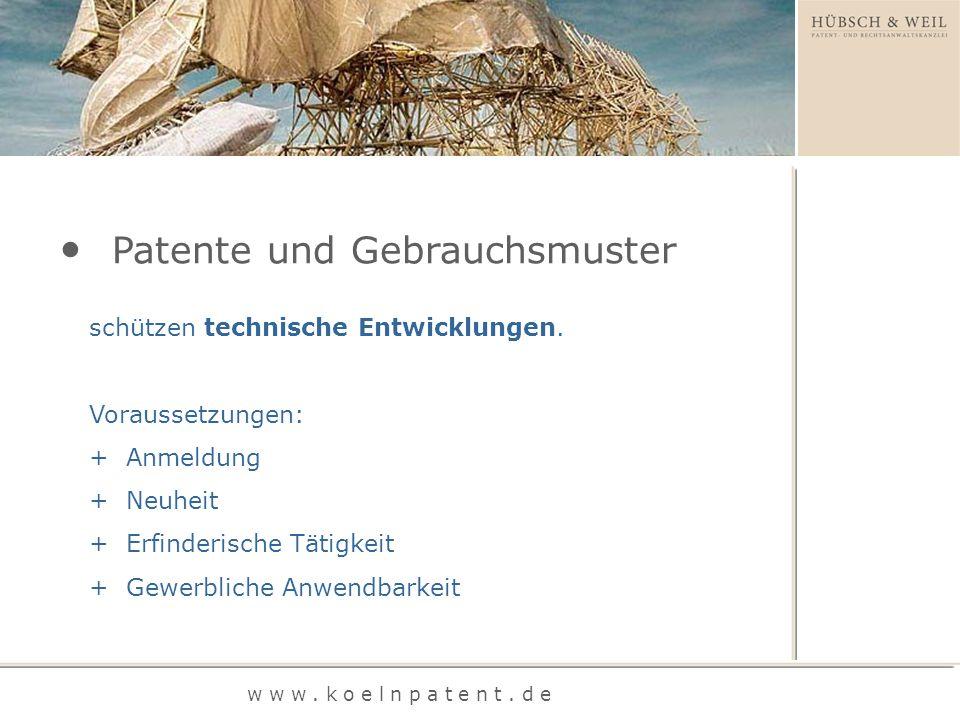 schützen technische Entwicklungen. Voraussetzungen: + Anmeldung + Neuheit + Erfinderische Tätigkeit + Gewerbliche Anwendbarkeit Patente und Gebrauchsm