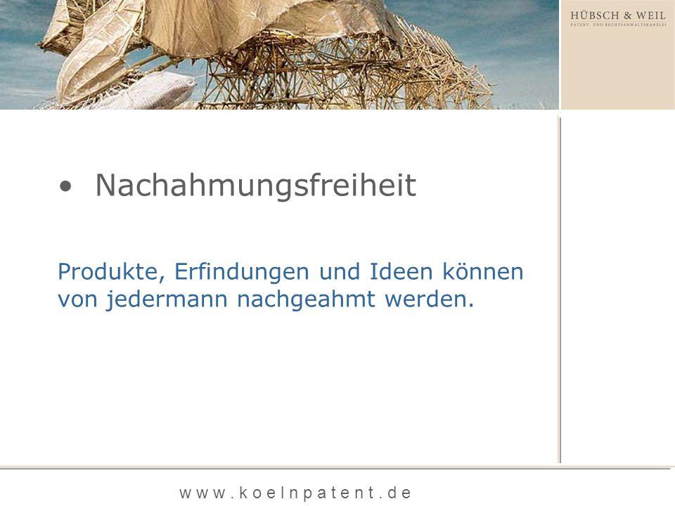 Marke Patent und Gebrauchsmuster Geschmacksmuster Schutzrechte w w w. k o e l n p a t e n t. d e