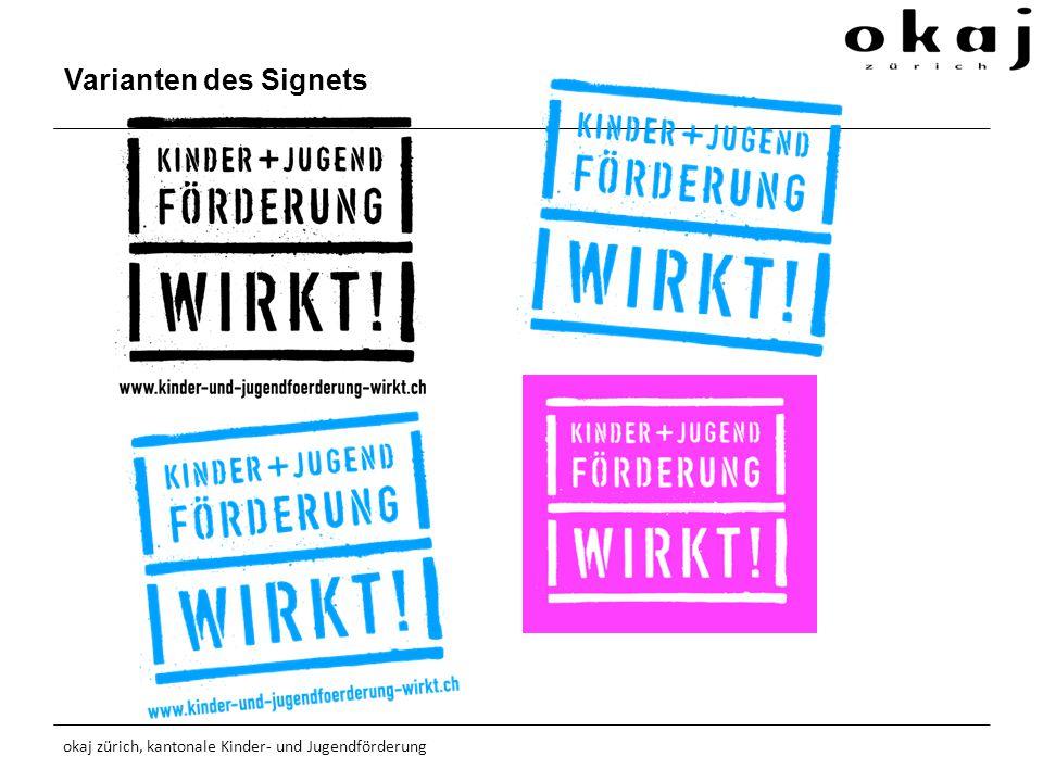 Varianten des Signets okaj zürich, kantonale Kinder- und Jugendförderung