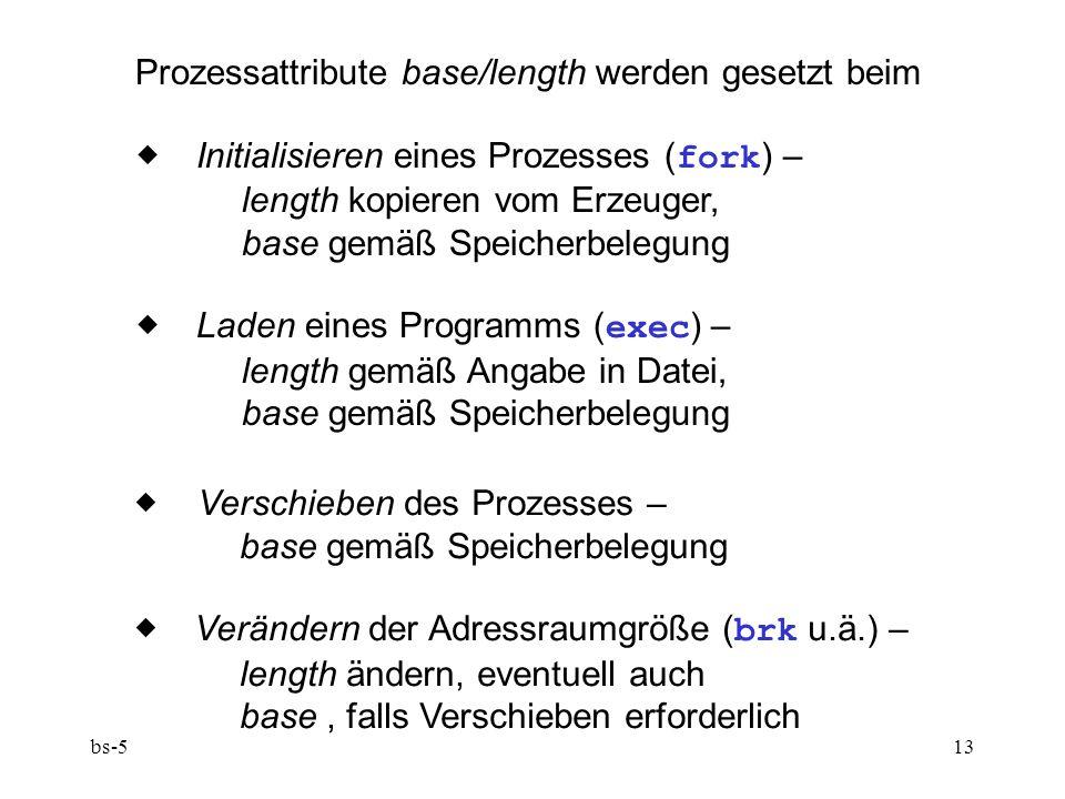 bs-513 Prozessattribute base/length werden gesetzt beim  Initialisieren eines Prozesses ( fork ) – length kopieren vom Erzeuger, base gemäß Speicherbelegung  Laden eines Programms ( exec ) – length gemäß Angabe in Datei, base gemäß Speicherbelegung  Verschieben des Prozesses – base gemäß Speicherbelegung  Verändern der Adressraumgröße ( brk u.ä.) – length ändern, eventuell auch base, falls Verschieben erforderlich