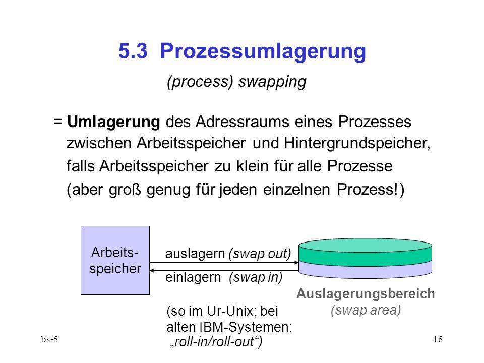 """bs-518 5.3 Prozessumlagerung (process) swapping = Umlagerung des Adressraums eines Prozesses zwischen Arbeitsspeicher und Hintergrundspeicher, falls Arbeitsspeicher zu klein für alle Prozesse (aber groß genug für jeden einzelnen Prozess!) Arbeits- speicher Auslagerungsbereich (swap area) auslagern (swap out) einlagern (swap in) (so im Ur-Unix; bei alten IBM-Systemen: """"roll-in/roll-out )"""