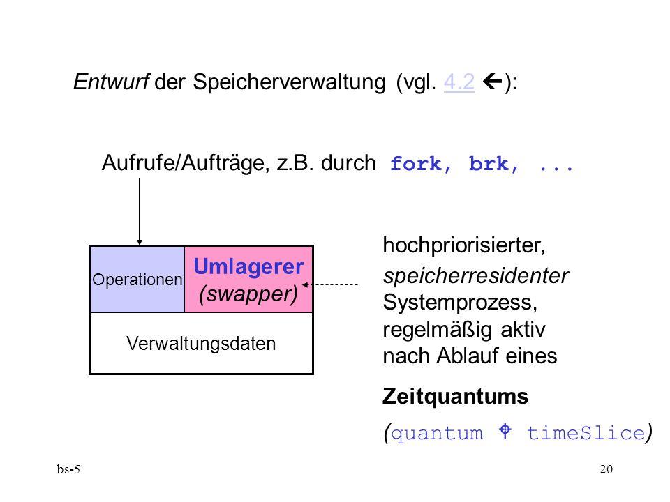 bs-520 Entwurf der Speicherverwaltung (vgl. 4.2  ):4.2 Aufrufe/Aufträge, z.B. durch fork, brk,... Operationen Umlagerer (swapper) Verwaltungsdaten ho