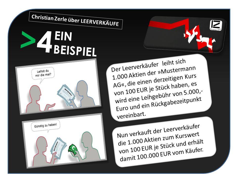 >4>4 EIN BEISPIEL Der Leerverkäufer leiht sich 1.000 Aktien der »Mustermann AG«, die einen derzeitigen Kurs von 100 EUR je Stück haben, es wird eine L