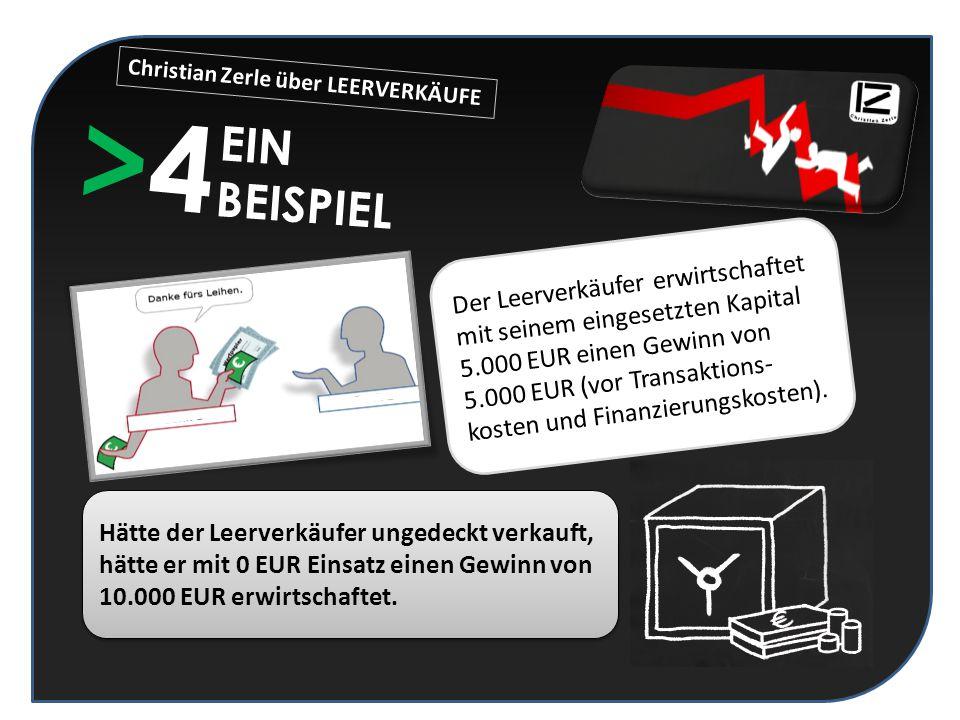 >4>4 EIN BEISPIEL Der Leerverkäufer erwirtschaftet mit seinem eingesetzten Kapital 5.000 EUR einen Gewinn von 5.000 EUR (vor Transaktions- kosten und