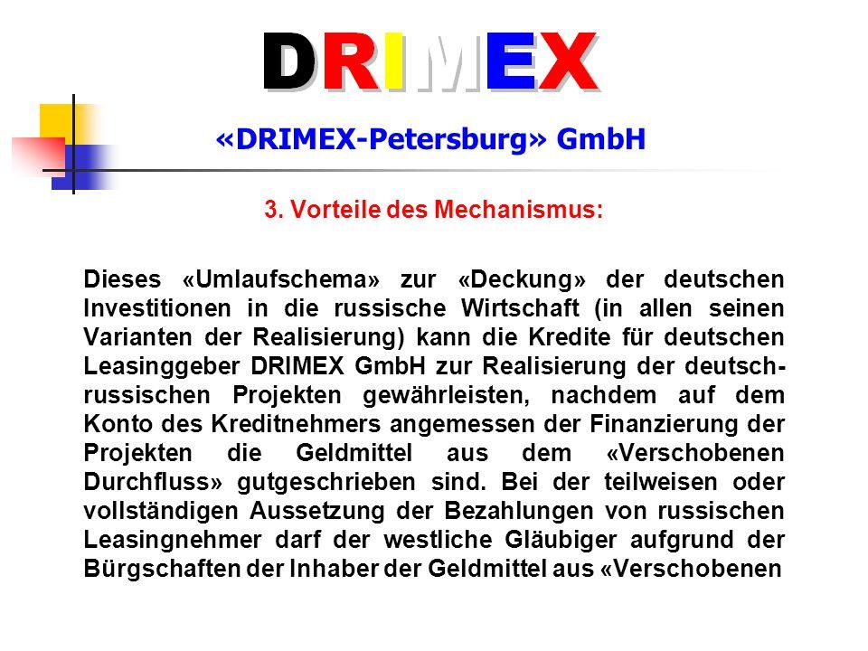 «DRIMEX-Petersburg» GmbH 3. Vorteile des Mechanismus: Dieses «Umlaufschema» zur «Deckung» der deutschen Investitionen in die russische Wirtschaft (in